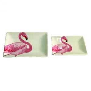 Conjunto Pratos Retangulares Flamingo