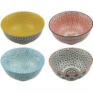 Conjunto de Cumbucas em Porcelana Coloridas