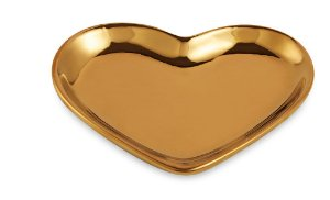 Mini Prato Decorativo Coração Dourado