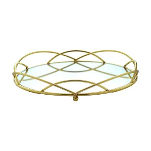 Bandeja Decorativa Metal Dourado