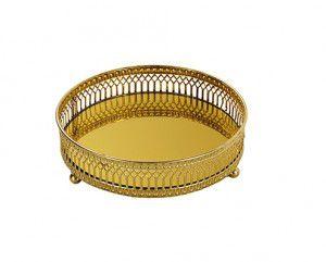 Bandeja de Metal em Dourada Pequena