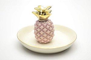Porta Bijoux Abacaxi Rosa e Dourado