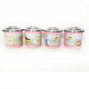 Porta Condimentos Teaparty Rosa Bebê