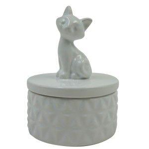 Porta Jóia de Porcelana Gatinho Branco
