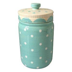 Pote Poá Candy em Cerâmica Azul Bebê