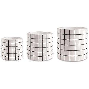 Trio de Cachepots Grid Branco