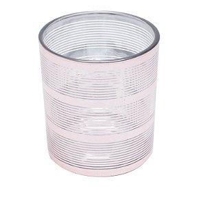 Castiçal Vidro Laser Rosa