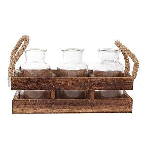 Trio de Vasos com Suporte Rústico