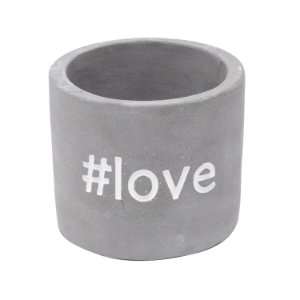 Cachepot Concreto With Love Cinza