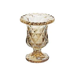 Vaso de Vidro Sodo Cálcio Diamond Âmbar