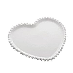 Prato de Coração de Porcelana Beads com Borda de Bolinhas Branca 20 cm