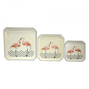 Conjunto de Travessas Classic Flamingo