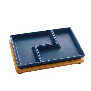 Conjunto de 2 Petisqueiras Com Bandeja Azul Matt
