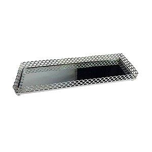 Bandeja de Metal Retangular Arch Border Prata 28 cm