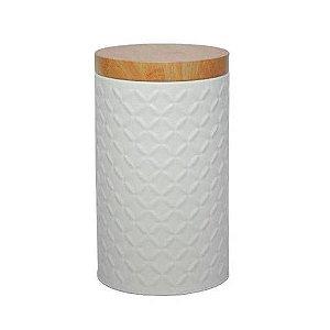 Lata Metal Round Wood Branca