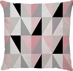 Capa de Almofada Geométrica Rosa e Cinza