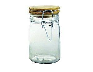 Porta Condimentos de Vidro com Tampa de Madeira