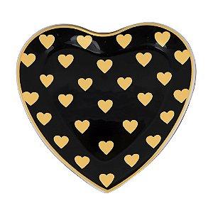 Prato Coração Preto Pequeno de Vidro Corações