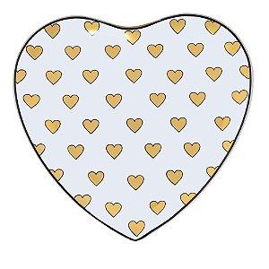 Prato Coração Branco Médio de Vidro Corações