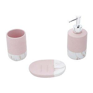 Kit para Banheiro - Cerâmica Marble Rosa