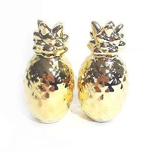 Saleiro e Pimenteiro Abacaxis Dourado
