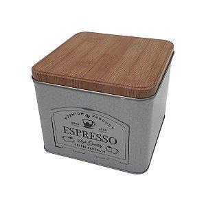 Lata Porta Cápsulas Metal Espresso Quality Branco