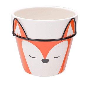 Vaso de Cerâmica com Suporte Raposa Fox