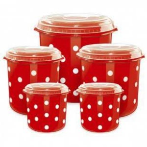 Potes Para Mantimentos de Plástico Vermelho