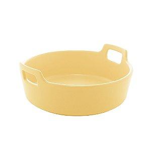 Travessa Porcelana Redonda com Alça Amarelo Matt 22 cm - Bon Gourmet