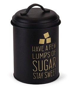 Pote Redondo Para Açúcar Preto e Dourado - Hauskraft