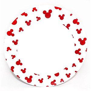 Prato Raso - Mickey Borda Branca com Vermelha