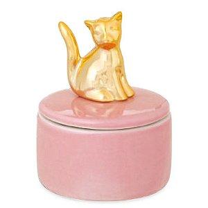 Porta Jóia de Porcelana Gatinho Dourado