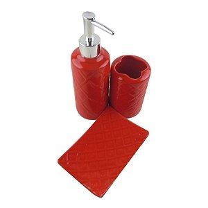 Kit para Banheiro Relevo - Vermelho 03 Peças