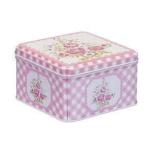 Conjunto de Latas Decorativas Quadradas Rosa Xadrez