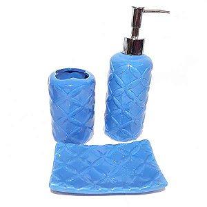 Kit para Banheiro Relevo - Azul 03 Peças
