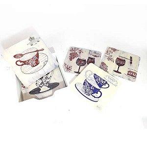 Jogo com 6 Porta Copos MDF Tea Quadrado