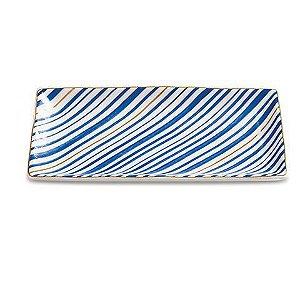 Mini Prato Retangular Azul Listras