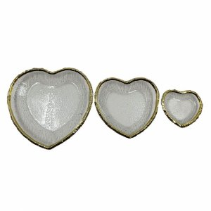 Conjunto de 03 Travessas Coração Vidro e Dourado