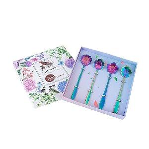 Conjunto de 4 Colheres Para Chá Flores Rainbow