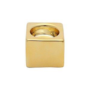 Castiçal de Cerâmica Shiny Clube Dourada