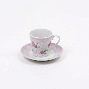 Jogo de 6 Xícaras com pires para Café - Rose Floral