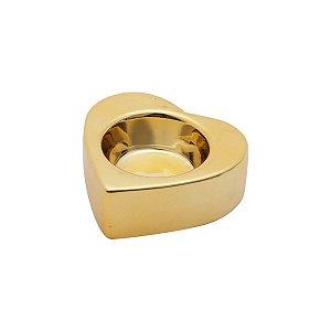 Castiçal Cerâmica Shiny Coração Dourado