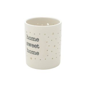 Castiçal de Porcelana Home Sweet Branco