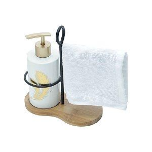 Kit para Lavabo com Toalha Leave Branco