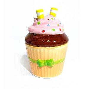 Açucareiro Pequeno Cupcake Laço Verde em Cerâmica