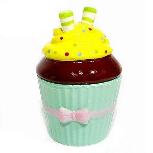 Açucareiro Pequeno Cupcake Laço Rosa de Cerâmica
