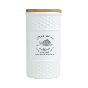 Pote Sweet Home Cerâmica com Tampa de Madeira - 1,25lt