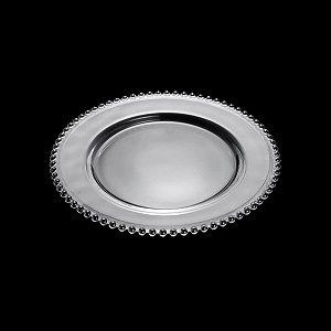 Prato de Cristal de Chumbo Pearl Clear Bolinhas 28cm - Wolff