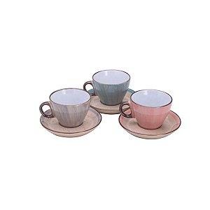 Jogo de 6 Xícaras para Chá Porcelana Watercolor - Bom Gourmet