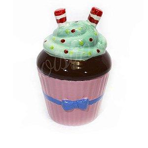 Açucareiro Pequeno Cupcake Laço Azul de Cerâmica